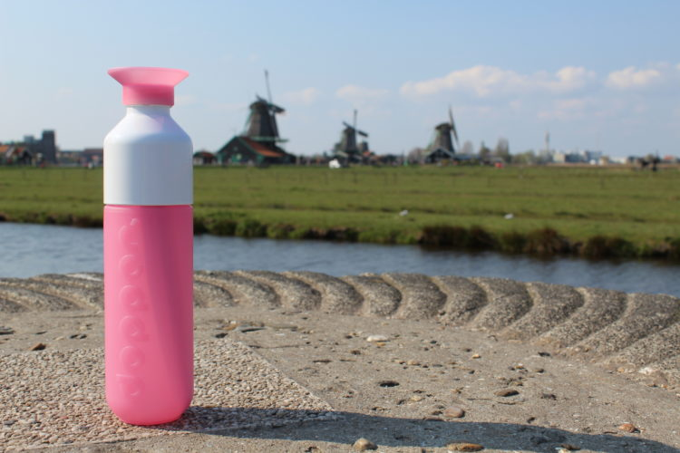 Dutch landscape view and a Dutch made waterbottle on the foreground