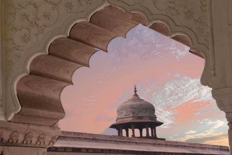 Pink sky viewed through mosque