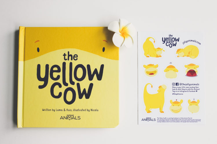The yellow cow book and sheet of stickers
