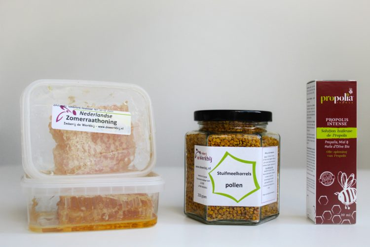 Bijenproducten rauwe honing stuifmeelkorrels en propolis