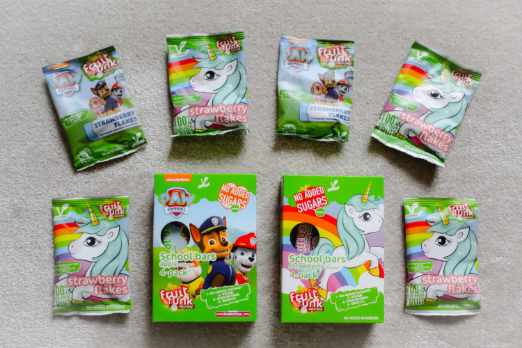 Unicorn en Paw Patrol Strawberry Flakes en Paw Patrol School Bars van Fruit Funk